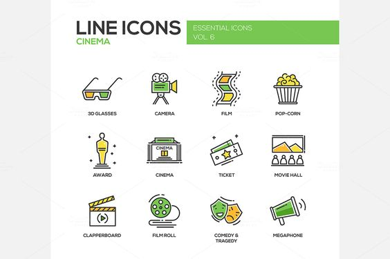 Cinema - Line Icons Set by Decorwith.me Shop on @creativemarket