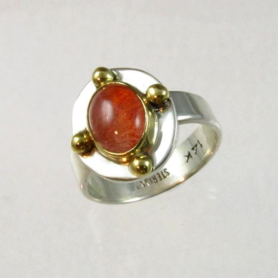 Sterling Silver and 14kt Gold Ring with Natural Strawberry Quartz Cabochon