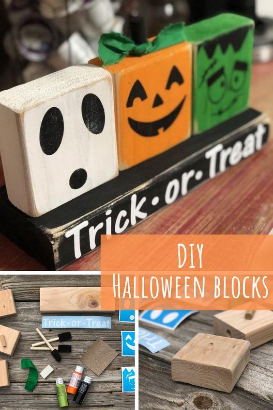 DIY Halloween shelt sitter 2x4 craft. How to make Halloween Decor, ghost, pumpkin, Frankenstein trick or treat craft