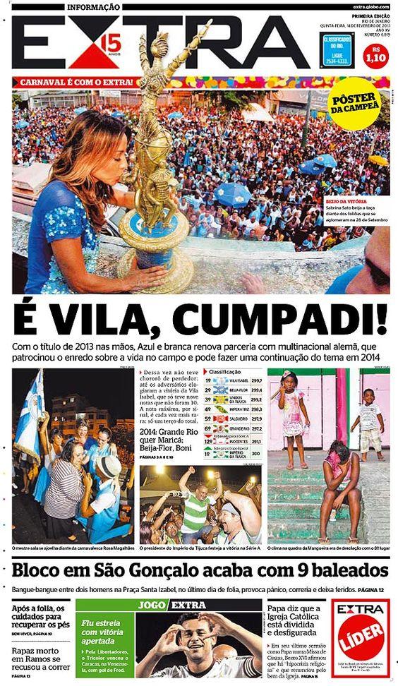 14-02-2013 - Capas do Jornal Extra - Extra Online