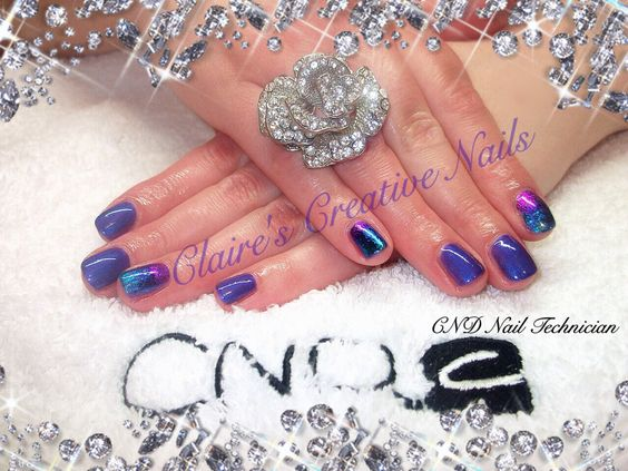 CND Shellac Purple Purple with Hot Pink, Purple and Aqua Blue Foil accents. Created by: Claire's Creative Nails, Northampton.