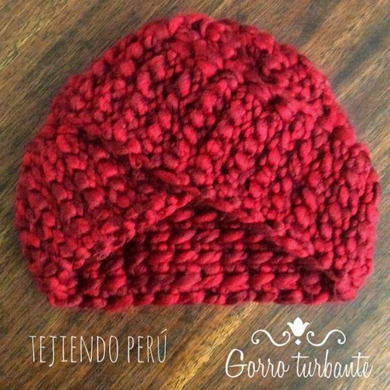 Gorro tipo turbante tejido en ganchillo tunecino es muy - Lana gruesa para tejer ...