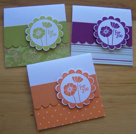 cute handmade notecard set ... Stampin' Up!  ... uses same design but each card uses one color range ...