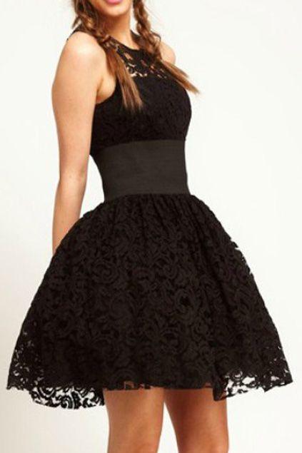 Lace Cut-out Belted Black Bubble Dress - Want! - Pinterest - Lace ...