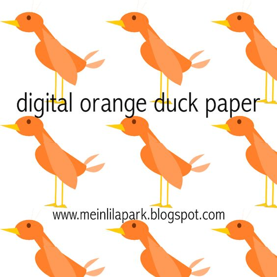 Free digital orange duck scrapbooking paper - ausdruckbares Geschenkpapier - freebie | MeinLilaPark – digital freebies