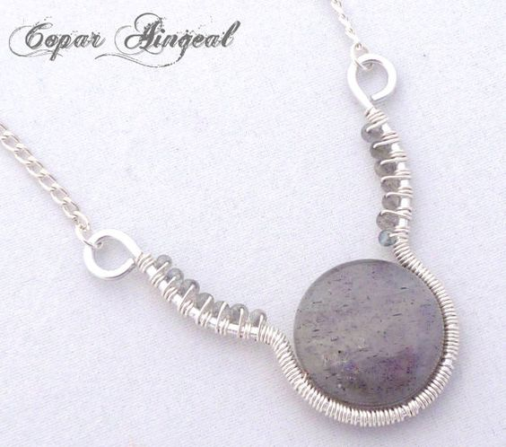Labradorite and Silver Parawire Necklace by CoparAingeal on Etsy, $26.00