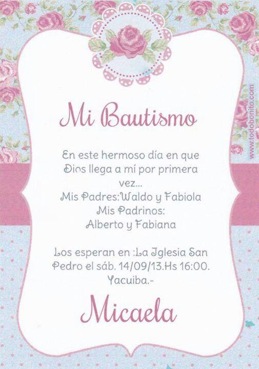 Tarjeta de invitacion  BAUTISMO MICAELA  Pinterest  Baby shawer