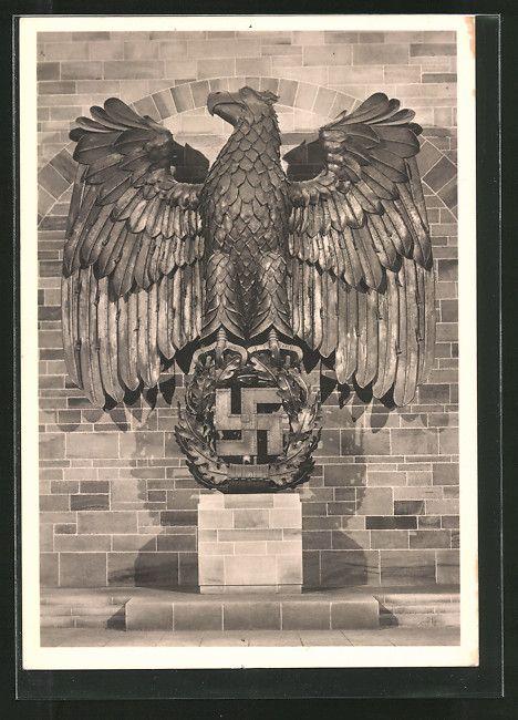 old postcard: AK Stuttgart, Reichsgartenschau 1939, Der Hoheitsadler in der Ehrenhalle mit Hakenkreuz