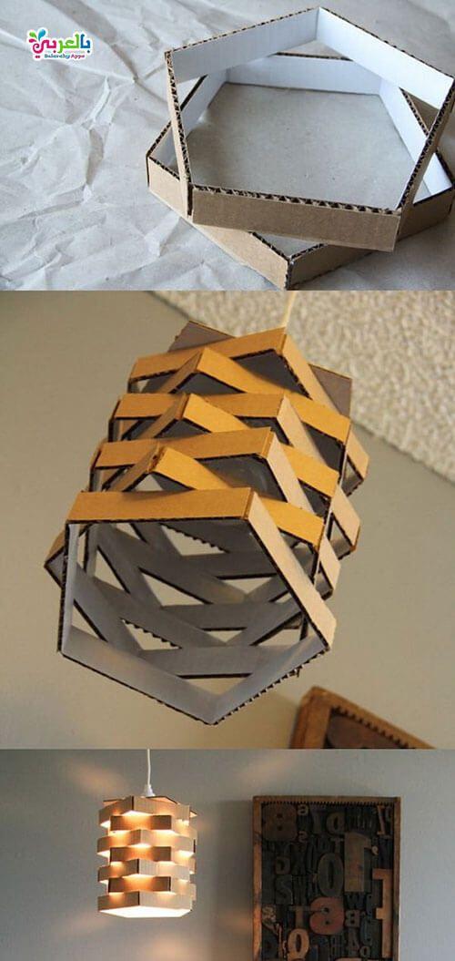 احلى ديكور للمنزل باستخدام ورق الكرتون اعادة تدوير بالعربي نتعلم Cardboard Crafts Living Room Diy Decor