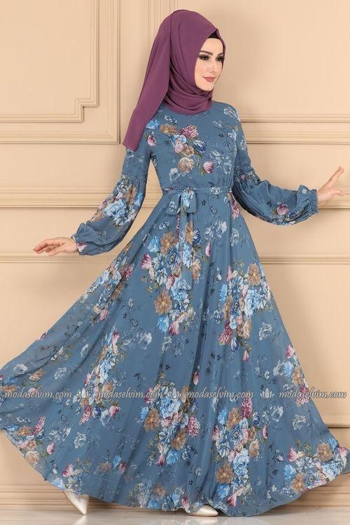 Modaselvim Elbise Balon Kol Tesettur Elbise 2219ms212 Mavi Sifon Elbise Elbise Elbiseler