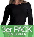 Long-Sleeved Fitted T-Shirt schwarz 3er-Pack