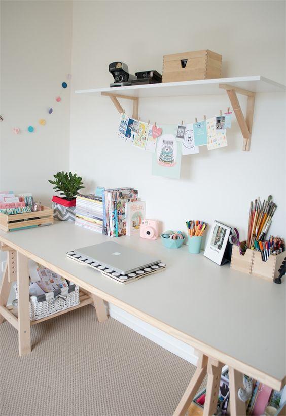 Escrivaninha feita com cavaletes - Casinha Arrumada: