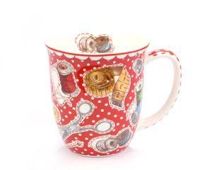 Große Teetasse NEEDLEWORK, Dekor mit Nähutensilien