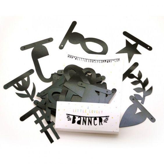 Schwarze Buchstaben Girlande DIY