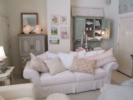 Rachel Ashwell Shabby Chic Couture Store - Floris Sofa in White Denim with vintage accessories