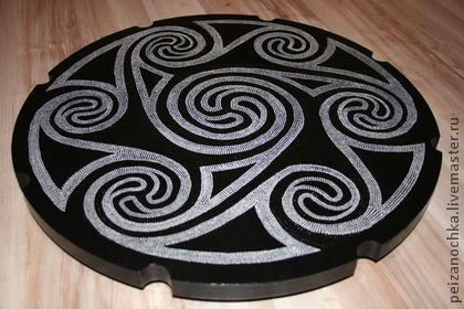 """поднос """"Кельтский орнамент"""" - чёрно-белый,поднос,точечная роспись,point-to-point"""