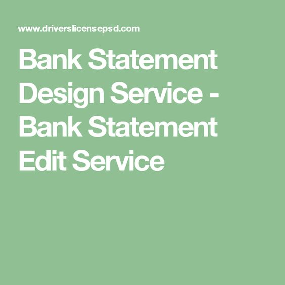 Bank Statement Design Service - Bank Statement Edit Service bank - bank statements