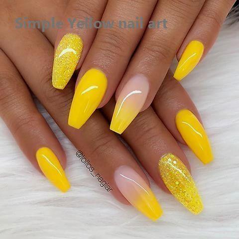 23 Great Yellow Nail Art Designs 2020 Yellownailart Nailart In 2020 Coffin Nails Long Yellow Nails Design Best Acrylic Nails