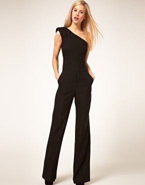 A very flattering style - plain black fitted jumpsuit, would look great with a colour added.