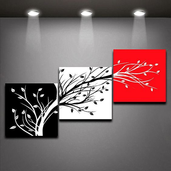 three color trees oil painting home decor red black white canvas painting 3 panels set from