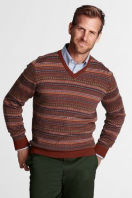 Men's Merino Wool Fair Isle V-neck Sweater from Lands' End | Ben ...