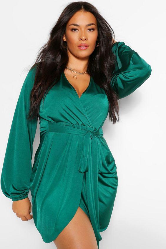Vestido Envelope verde liso