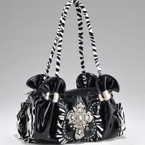 Zebra Print Shoulder Bag w/Rhinestone Symbol - this would be great for teenager.