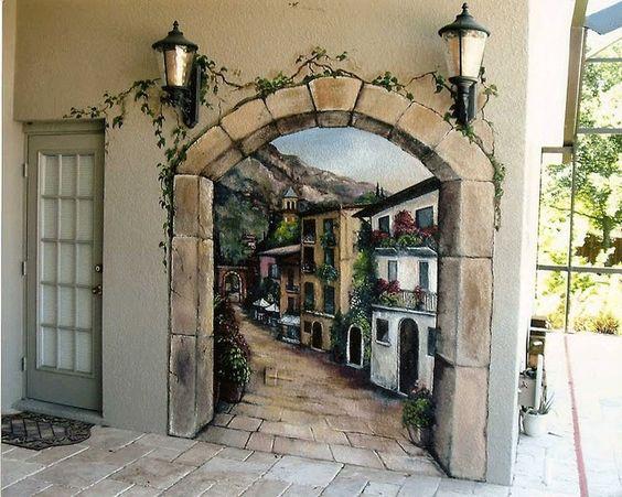 Outdoor italian mural murals pinterest orlando for Exterior wall mural
