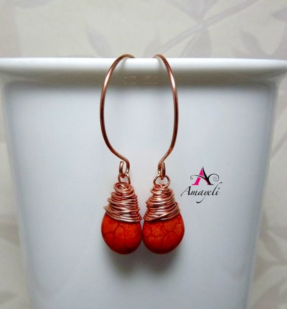 Wire wrapped teardrop gemstone earrings artisan copper by Amayeli, $18.00