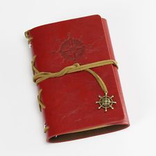 Red Leather Pirate Retro Vintage Bound Blank Pages Journal Diary Notebook