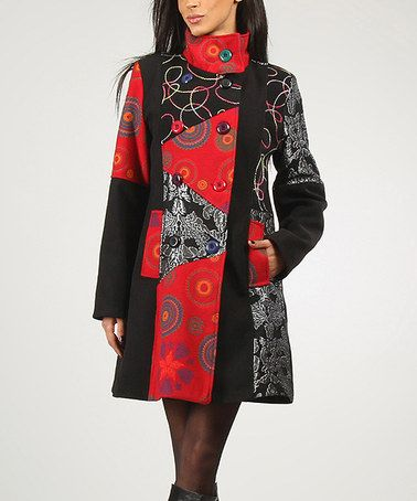 Another great find on #zulily! Black & Red Solange Wool-Blend Peacoat by Charlotte & compagnie #zulilyfinds