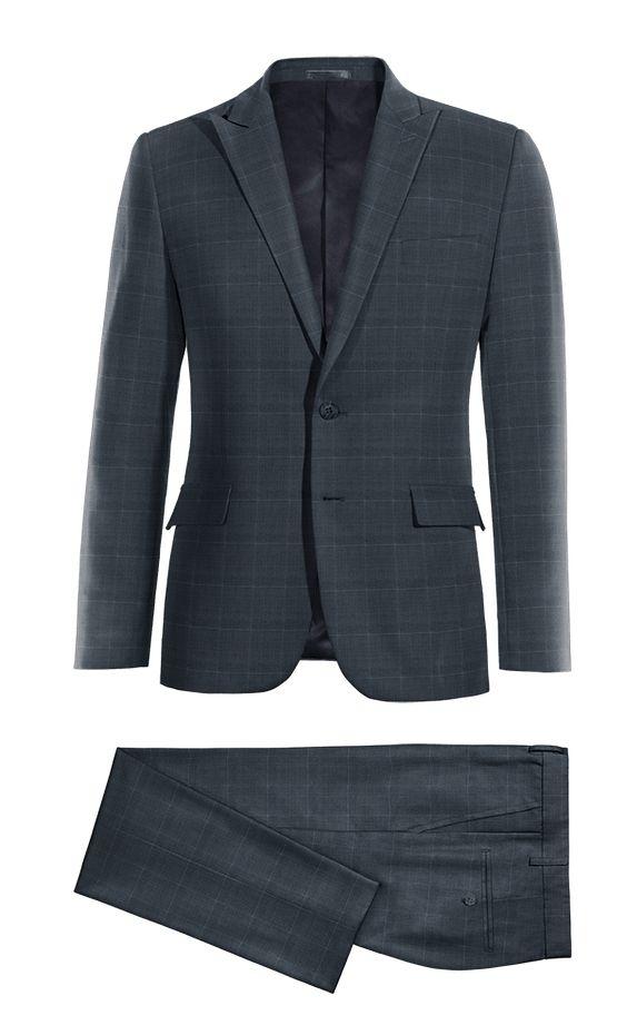 Blue checked Merino wool Suit