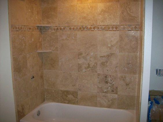 Wood bathtub surround surround along with travertine for Wood tile tub surround