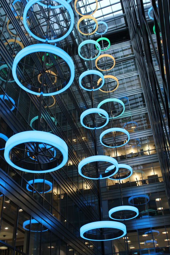 The Light Lab manufactured and installed stunning bespoke atrium light feature at the commercial offices of Broadgate West in the City of London see more at: https://www.lightingstores.eu/