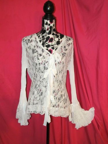 White Lace Chiffon Tunic Top Long Poet Sleeves Ties XL NO TAGS see measurements