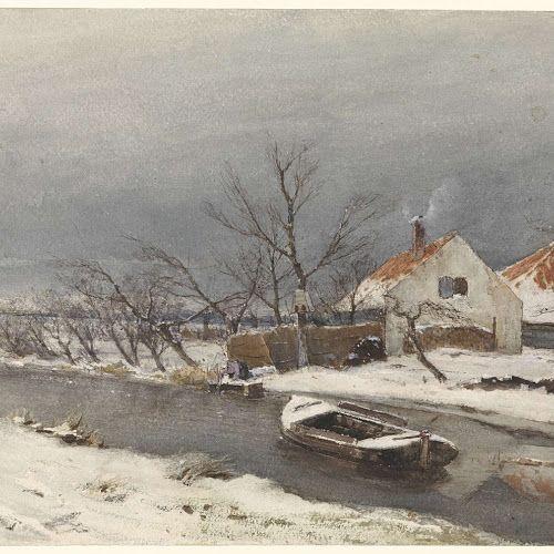 Winterlandschap met huizen aan een vaart, Louis Apol, 1874 - Rijksmuseum