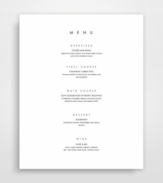 Menu Template Printable Menu Modern Menu Minimalist Menu Instant Download Menu Design Elegant Menu Templat Menu Design Wedding Menus Design Printable Menu