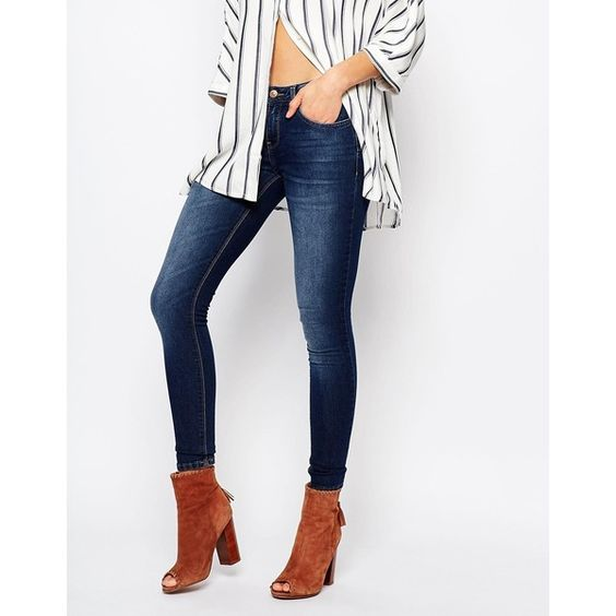 Mango Rinse Wash Low Rise Skinny Jeans ($31) ❤ liked on Polyvore ...