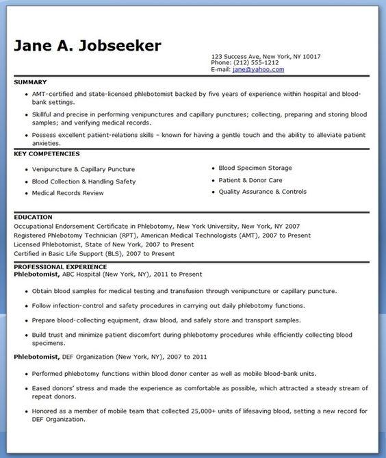 Phlebotomist Resume Writing Advice \ Sample Phlebotomist Resume - phlebotomy technician resume