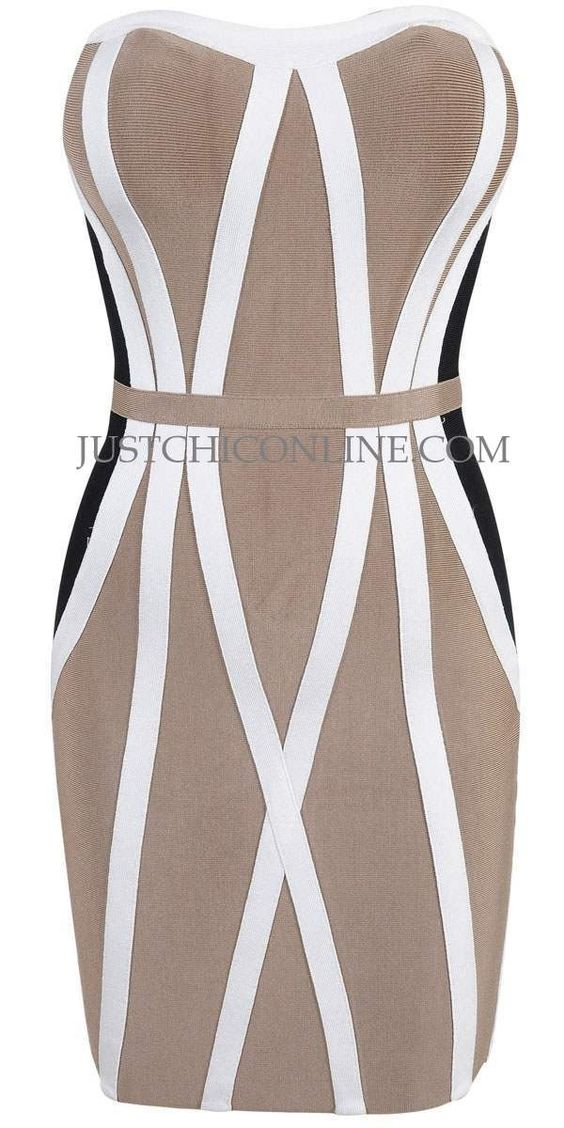 "The ""Honey"" Tri-Tone Hourglass Affordable Bandage Dress. Made with high quality luxury bandage fabric. $152.00"