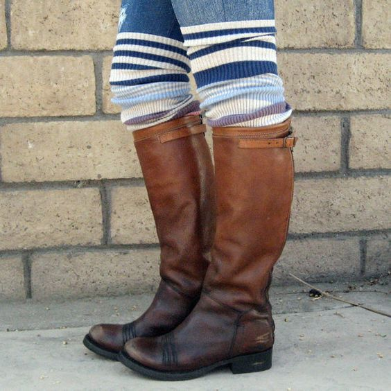 Multi color striped pink purple tan blue rib knit legwarmers upcycled eco friendly bootsocks leg warmer sweater boot socks on Etsy, $11.99
