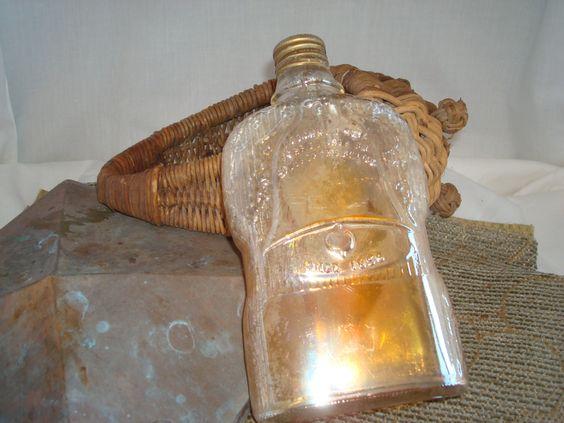 Vintage Jos.S. Finch 8 Co. 1930's Carnival Glass Quart Golden Wedding Liquor Bottle by VintageMonkeyAntique on Etsy