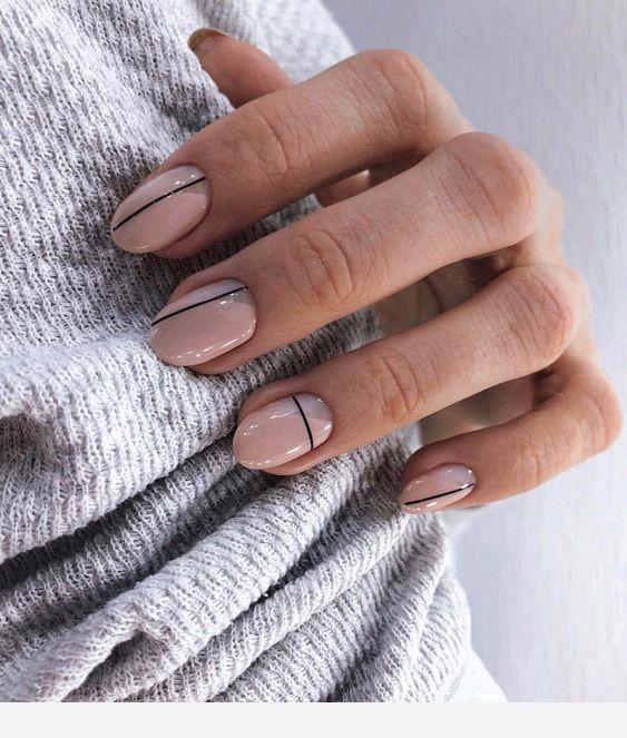 Pink Nails With Black Lines Lines On Nails Picasso Nails Stylish Nails