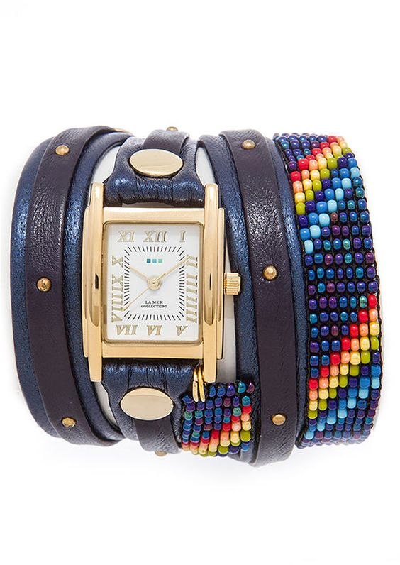 La Mer Navy Guatemalan Wrap Watch