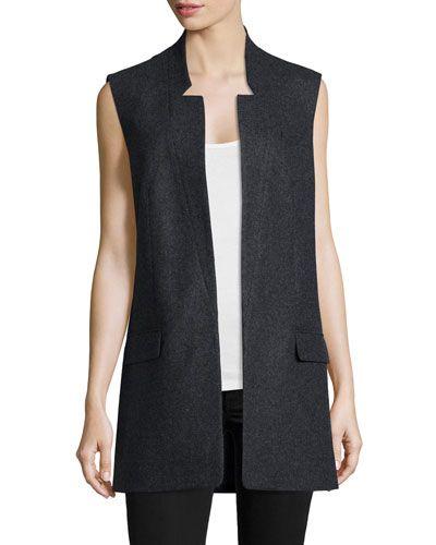 TB53E Michael Kors Collection Open-Front Boyfriend Vest, Charcoal Melange