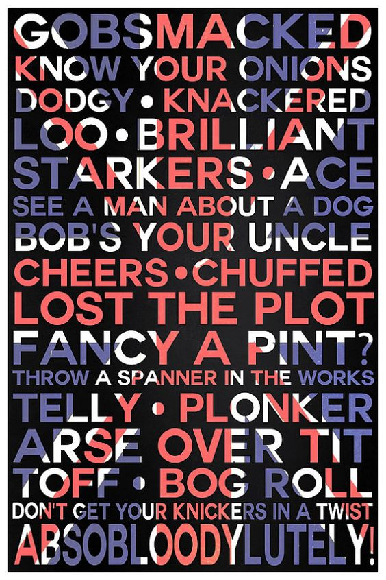 Typography Print British Slang Typographical by ThePDXPhotographer.  Bob's your Uncle, Harry's your Aunt!