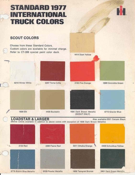 1977 Paint Chart | International Harvester