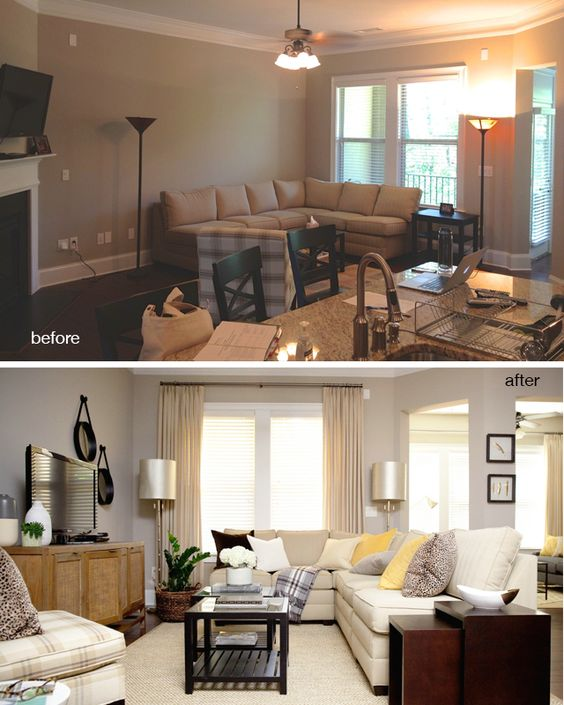 before and after vinings living room fireplaces