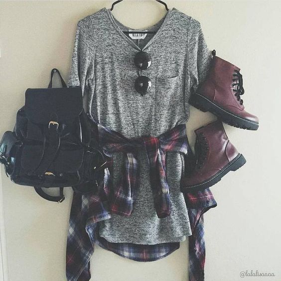 Cute Grunge Outfit with Flannels, Sunglasses and Doc Martens Boots - http://ninjacosmico.com/get-best-flannel-shirts/: