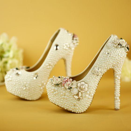 Piekne Biale Wykonany Recznie Buty Slubne 2019 Perla Kwiat 14 Cm Szpilki Okragle Toe Slub Czolenka Pearl Shoes Womens Wedding Shoes Handmade Wedding Shoes